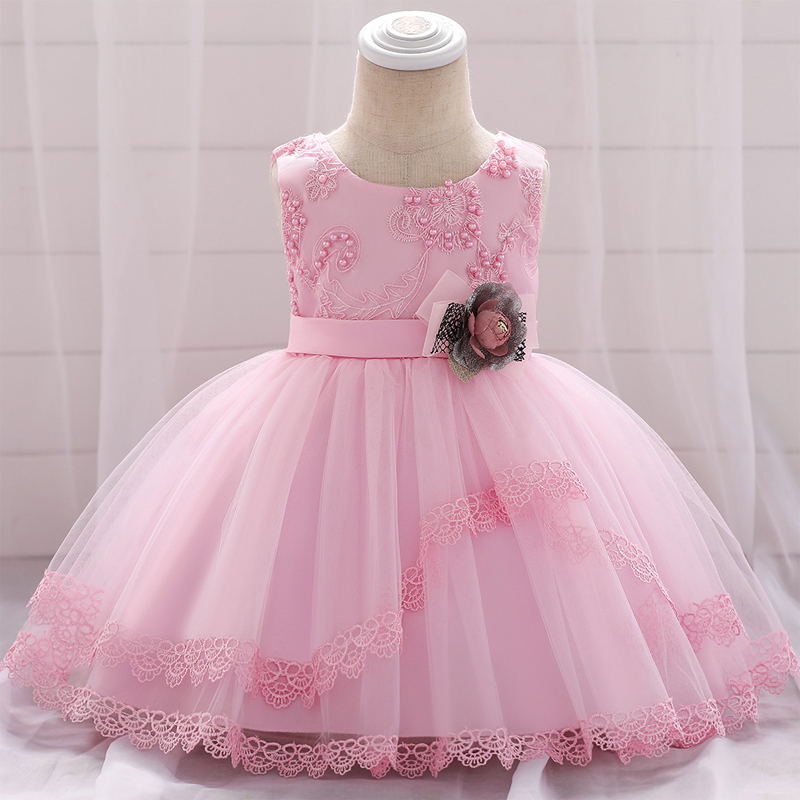 2020 Summer Flower Pink Birthday Dress For Baby Girl Clothes Party Child Dresses Wedding White Princess Tutu Dress Ceremony Gown