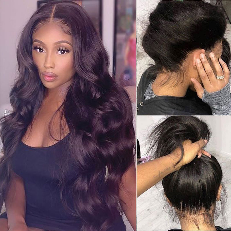 HD Transparent Full Lace Human Hair Wigs Body Wave Glueless Brazilian 30 Inch Full Lace Wigs Pre Plucked With Baby Hair Remy