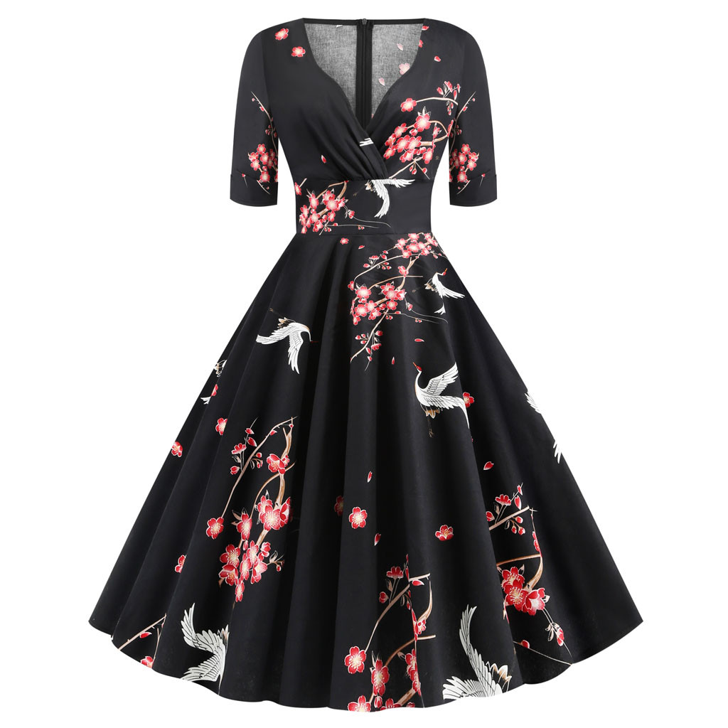 sukienki ropa mujer vestidos dress women Half Sleeve Floral Print Vintage Holiday Party Formal plus size dress robe hiver femme