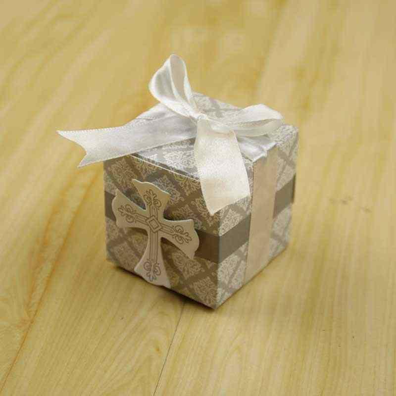 10 pièces/lot créatif première Communion croix boîte à bonbons baptême bébé douche mariage fête enveloppement bomboniere supports avec rubans