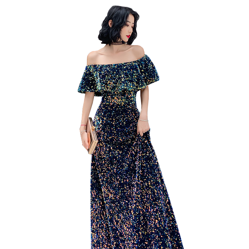 New Evening Dress Sequins Long Colored Off-The-Shoulder Party Gowns Fashion Queen Shiny Prom Evening Gowns Temperament Elegant