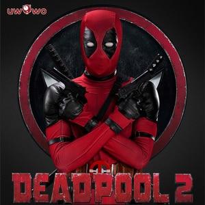 Костюм для косплея UWOWO Deadpool, костюм из кожи с длинным рукавом для Хэллоуина
