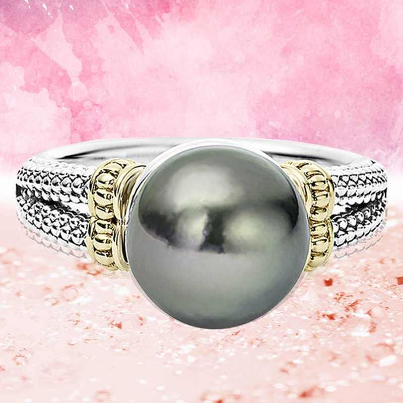Hot Ring With Gray Pearl And Cubic Zircon Women Jewelry Dropshipping Anel Anillos Aneis Femme Banquet Jewelry Gift