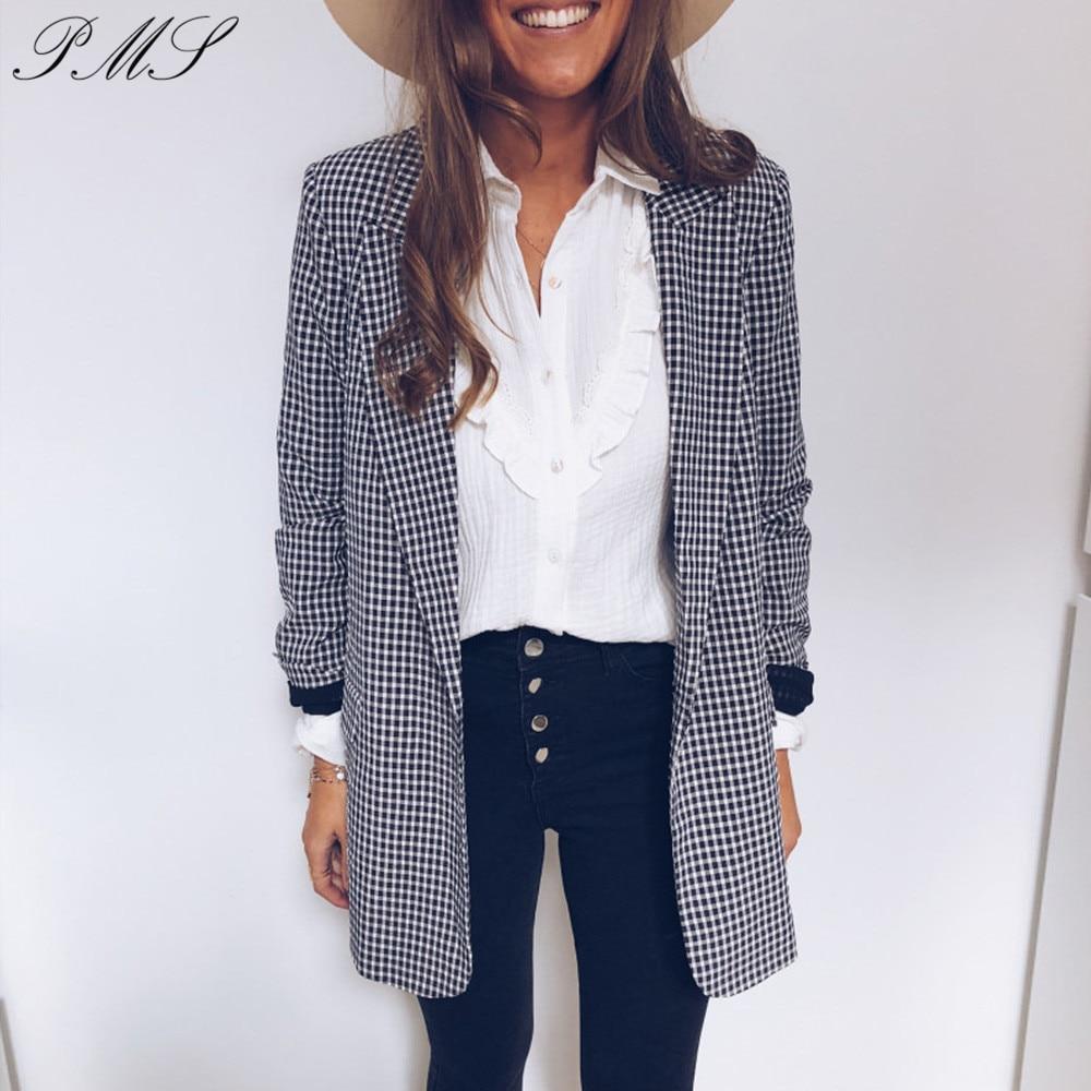 Autumn Blazer Vintage Single Breasted Plaid Women Blazer Pockets Jackets Female Retro Suits Coat Blazers Outerwear Feminino D30