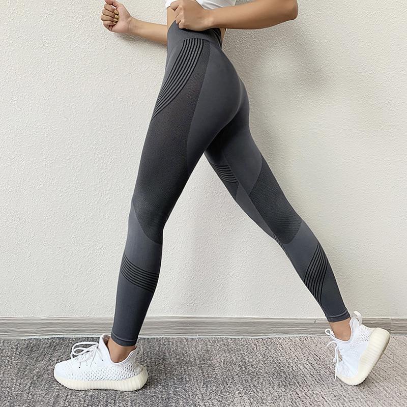 SVOKOR Women Leggings High Waist Peach Hips Gym Leggings Quick-drying Sports Stretch Fitness Pants 2