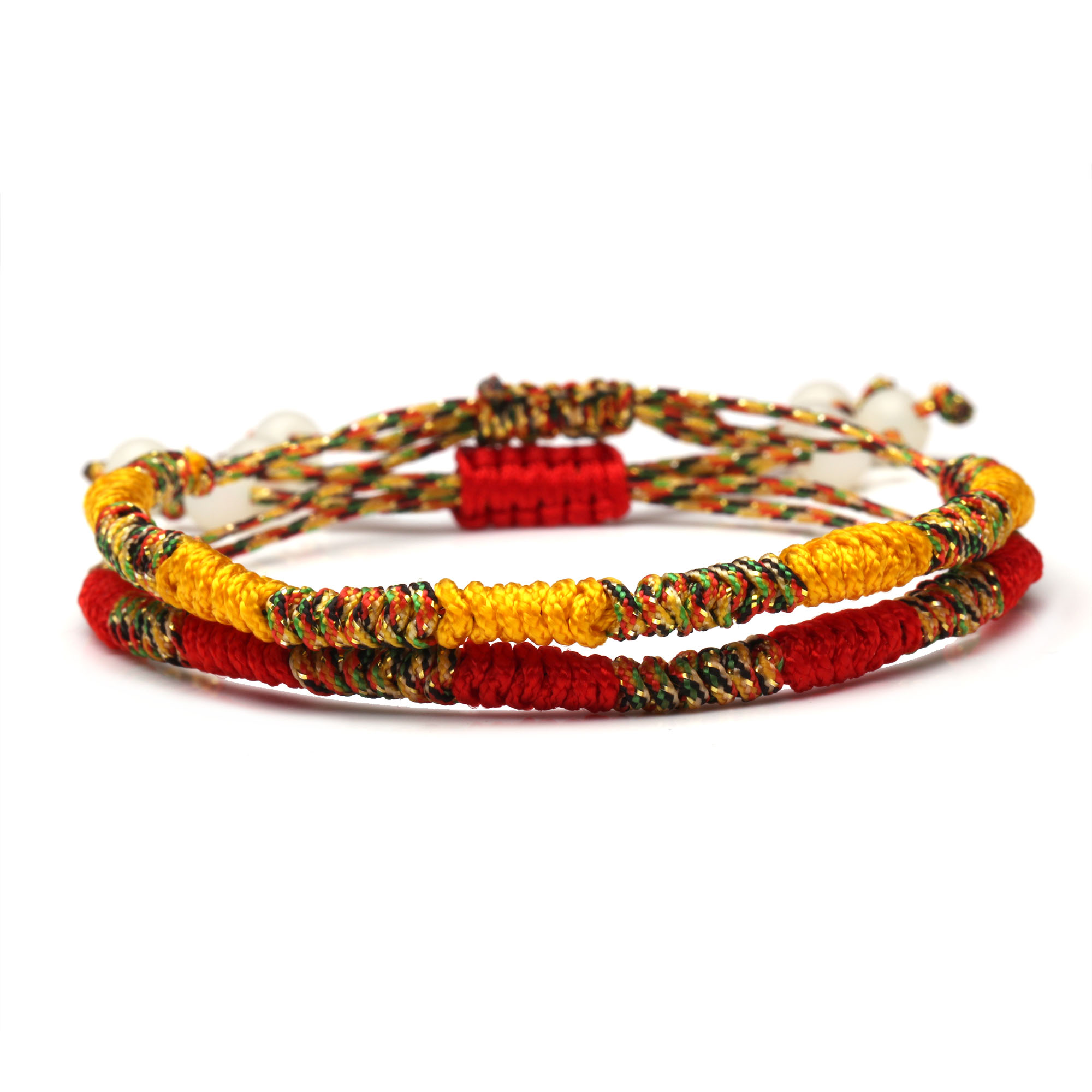 Tibetan Buddhist Lucky Knot Bracelet Women Men Earth Yellow Red Iridescent Mix Color String Braided Adjustable Bracelets Present