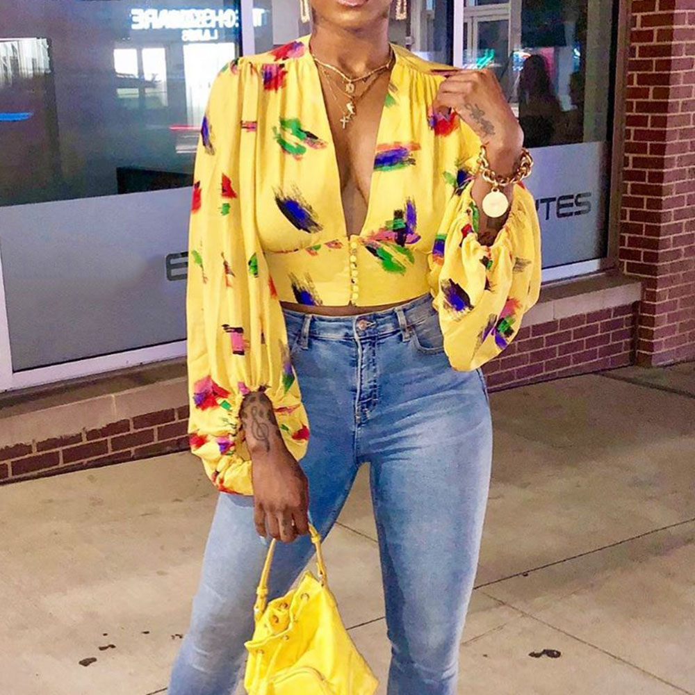 T Shirt Lantern Oversize V-Neck Sleeve Women Long US thin Blouse Floral Tops