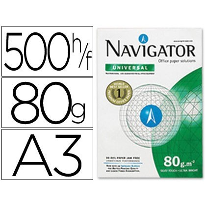 NAVIGATOR. PAPER PHOTOCOPIER  DIN A3 80 GRAMS PAPER MULTI PURPOSE INK-JET AND LASER-PACK 500 SHEETS
