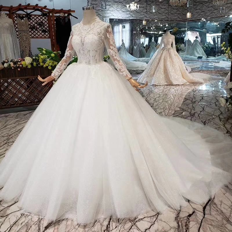BGW HT4216 Muslim Ball Gown Wedding Dresses 2019 With Long Sleeves O-neck Floor Length Beauty Bridal Dress Wedding Gowns White