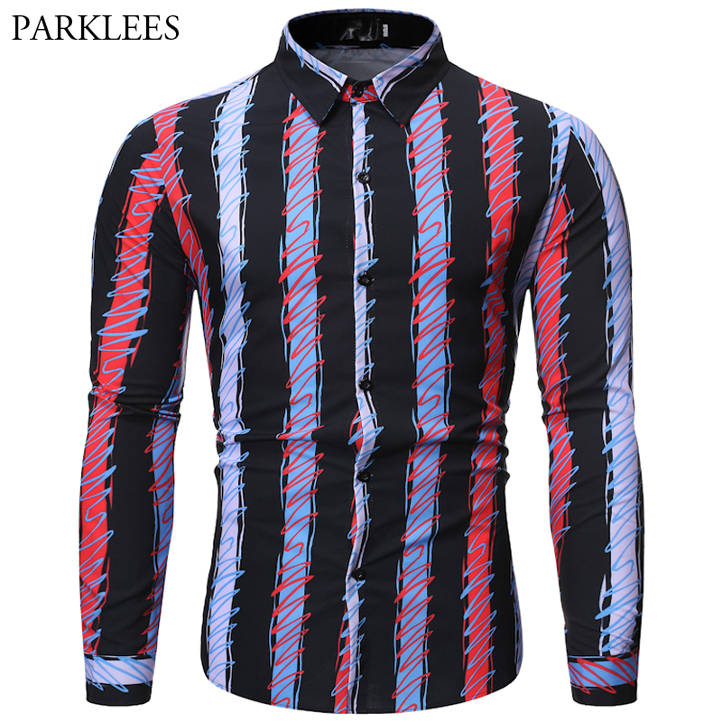 Contrast Stripes Design Shirt Men's Autumn 2019 New Fashions Brand Casual Slim Fit Long-Sleeve Dress Shirts Men Chemise Homme