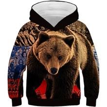 3D Hoodies Brown Sweatshirts Pullovers Animal Print Girls Boys Kids Fashion Children