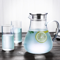 1.8L Heat Resistant Filter Strainer Glass Teapot, Glass Pitcher with Bamboo Lid Glass Kettle Water Tumbler Tea Bottle