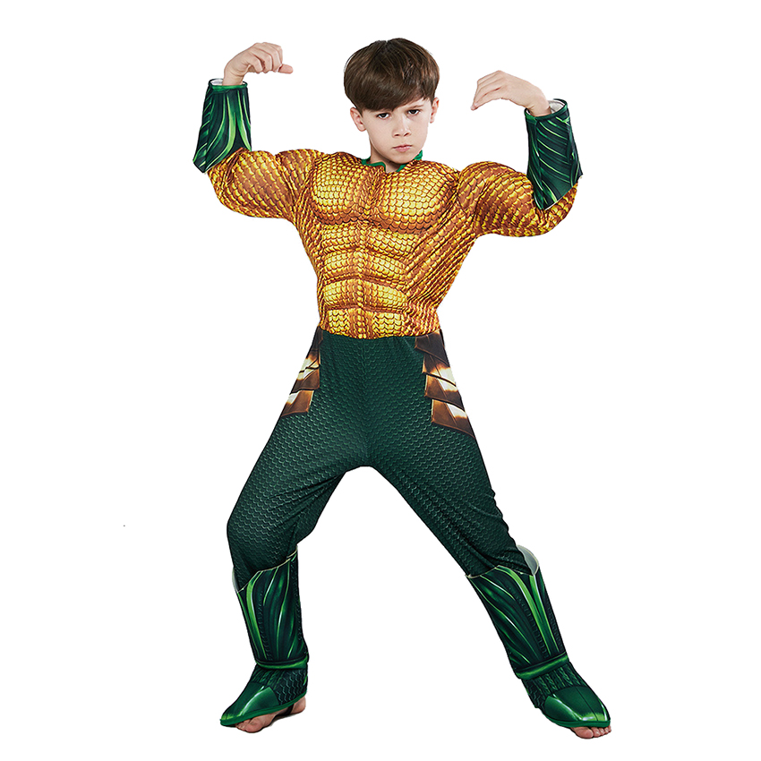 Aquaman Costumes for Kids Halloween Costumes for Kids Boys Muscle Sponge Superhero Costumes Aquama Cosplay Party Dress Jumpsuits 2
