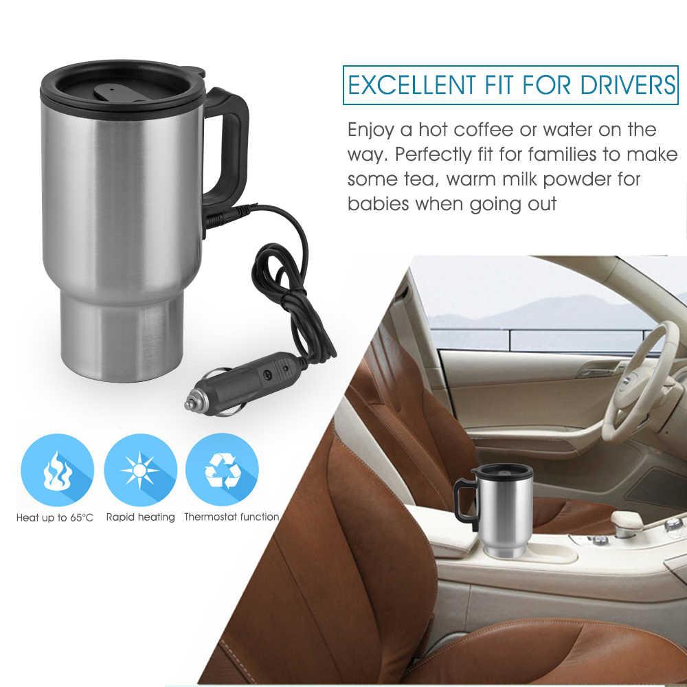 450 ミリリットルオートカー暖房カップステンレス鋼電気魔法瓶水加熱されたため車 12 110v ケトル旅行マグ加熱真空カップ