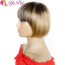 Ombre Straight Human Hair Wigs Brazilian Remy Hair Short Bob Wig With Bangs 4/27 Honey Blonde Full Machine Wigs Yepei Hair