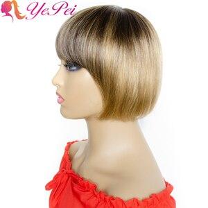 Ombre em linha reta perucas de cabelo humano brasileiro remy cabelo curto bob peruca com franja 4/27 mel loira máquina cheia perucas cabelo yepei