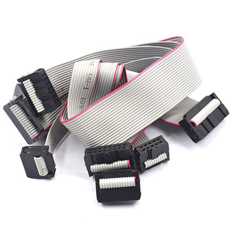2pcs 2.54MM Pitch FC-8/10/14/16/20/26/40 PIN 30CM JTAG ISP DOWNLOAD CABLE Gray Flat Ribbon Data Cable FOR DC3 IDC BOX HEADER