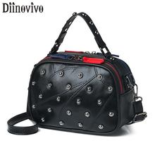 DIINOVIVO New Rivet Shoulder Messenger Bag Women Leather Handbags Fashion Double Zipper Handbag WHDV1271