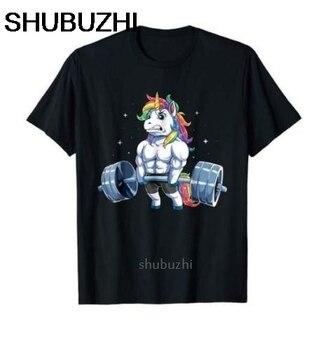 Футболка с единорогом для тяжелой атлетики для фитнеса, тренажерного зала, Deadlift Rainbow us, Мужская трендовая футболка с рисунком shubuzhi, Мужская модная футболка sbz8399