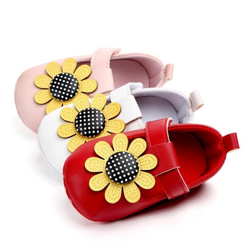 Autumn PU Baby Girls Shoes Infant Princess First Walkers Newborn Soft Sole Non-Slip Sun Flower Pattern Shoes