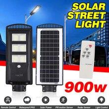 900W farola Solar LED luces Led al aire libre policristalino Control remoto lámpara Solar IP67 impermeable Plaza jardín