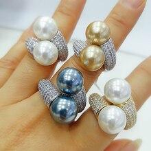 GODKI 2020 טרנדי עגול פרל הצהרת טבעות לנשים מעוקב זירקון אצבע טבעות חרוזים קסם טבעת בוהמי חוף תכשיטי 2019
