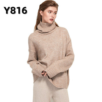 Autumn Winter Women Knitted Turtleneck Cashmere Sweater 2020 Casual Basic Pullover Jumper Batwing Long Sleeve Loose Tops image