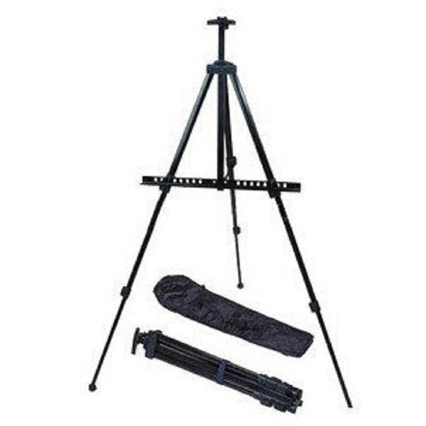 1.6M Reinforced Artist Easel Stand Iron Tripod Display Easel Adjustable Height With Portable Bag Painting Sketch Folding Easel