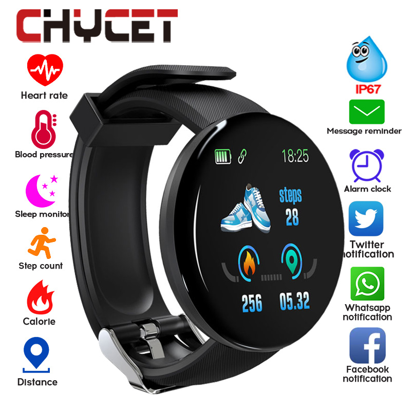 Sport-Tracker Watch Blood-Pressure Whatsapp Bluetooth Android Waterproof Men Round