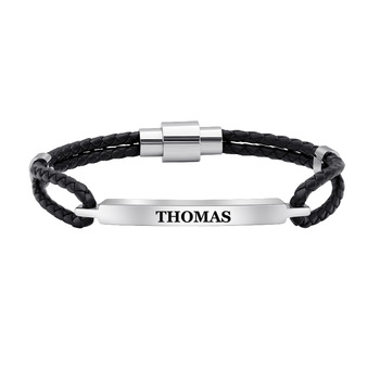 Personalized Stainless Steel Charm Bracelets Genuine Leather Braided Rope Men Bracelet Custom With Names Words Male Man Jewelry trendy mens bracelets white braided leather rope bracelet jewelry stainless steel magnetic clasp fashion male wristband sp0006