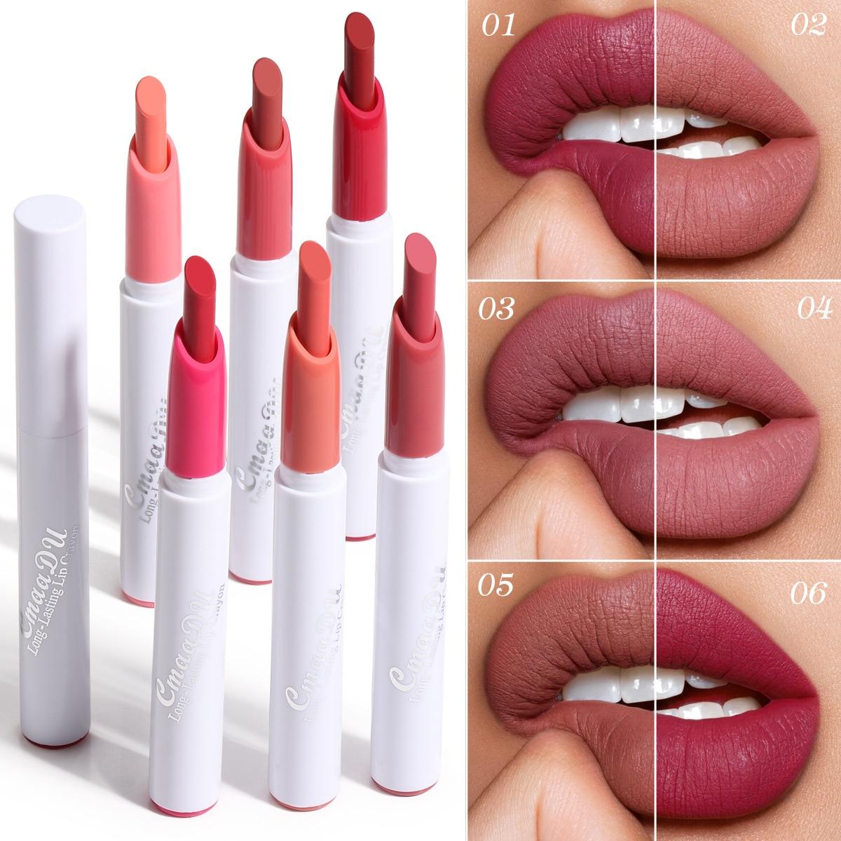 CmaaDu Lippenstift Stift Matte Lip Gloss Kosmetische Leichte Lip Glasur Lange Anhaltende Lippenstift Wasserdicht 6 Farbe Lippen Make-Up