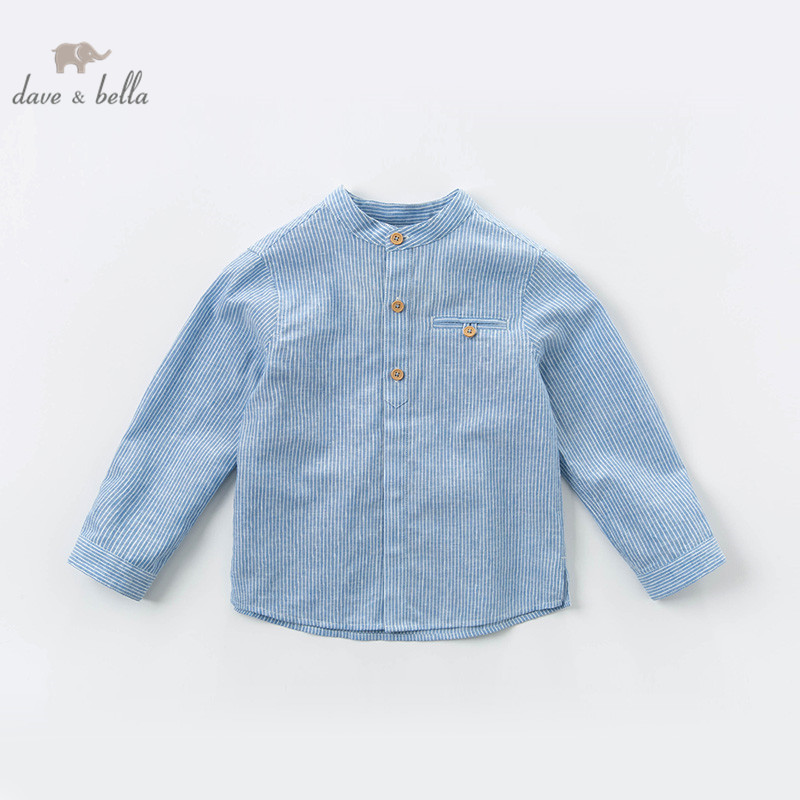 DKS13568 dave bella kids boy spring infant boy fashion striped shirt toddler tops 5-13Y children high quality tees clothes