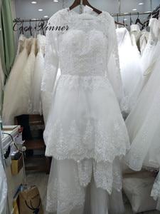 Image 5 - Beautiful Pearls beading 2 IN 1 A line Wedding Dress 2020 Detachable Skirt Long Sleeve Illusion Lace Wedding Dresses W0278 B
