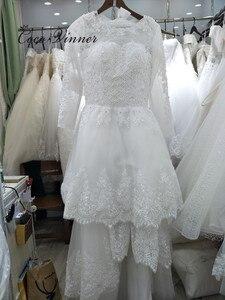 Image 5 - Belas pérolas beading 2 em 1 uma linha vestido de casamento 2020 saia destacável manga longa ilusão rendas vestidos de casamento W0278 B