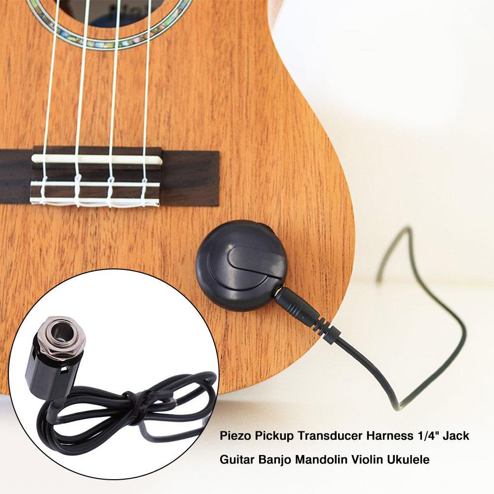 Guitar Violin Pickup Piezo Transducer Bridge Set with Tone Volume Knob Black