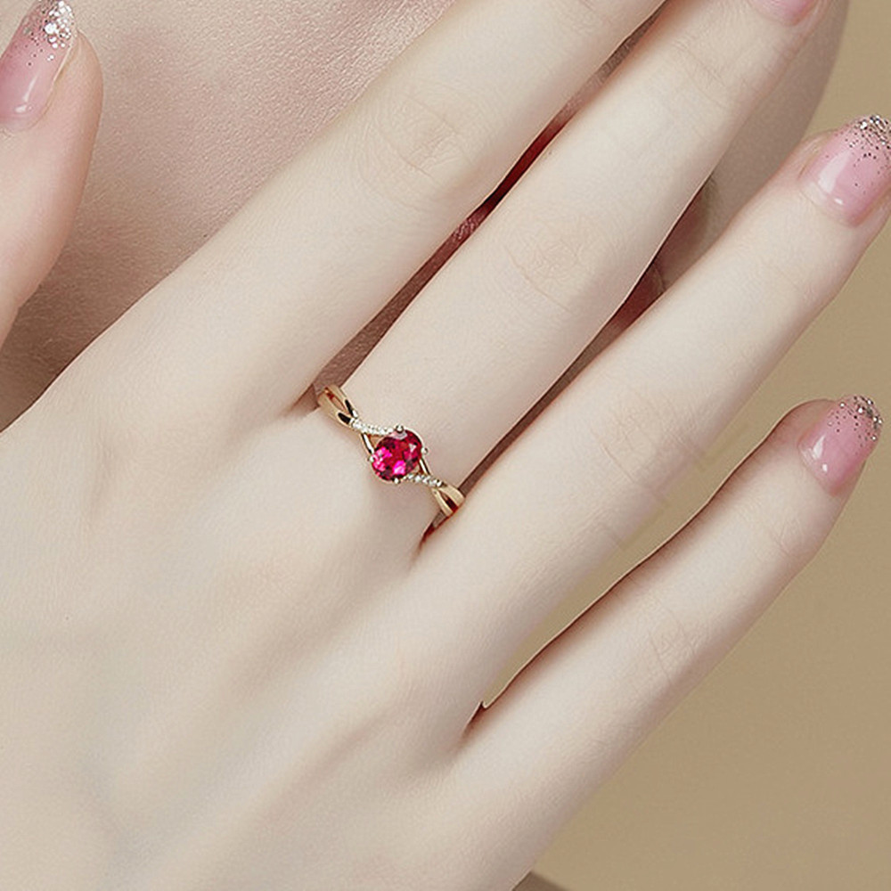 Rose gold tone fashion red crystal ruby gemstones diamonds rings for women concise jewelry bijoux bague party anniversary gifts