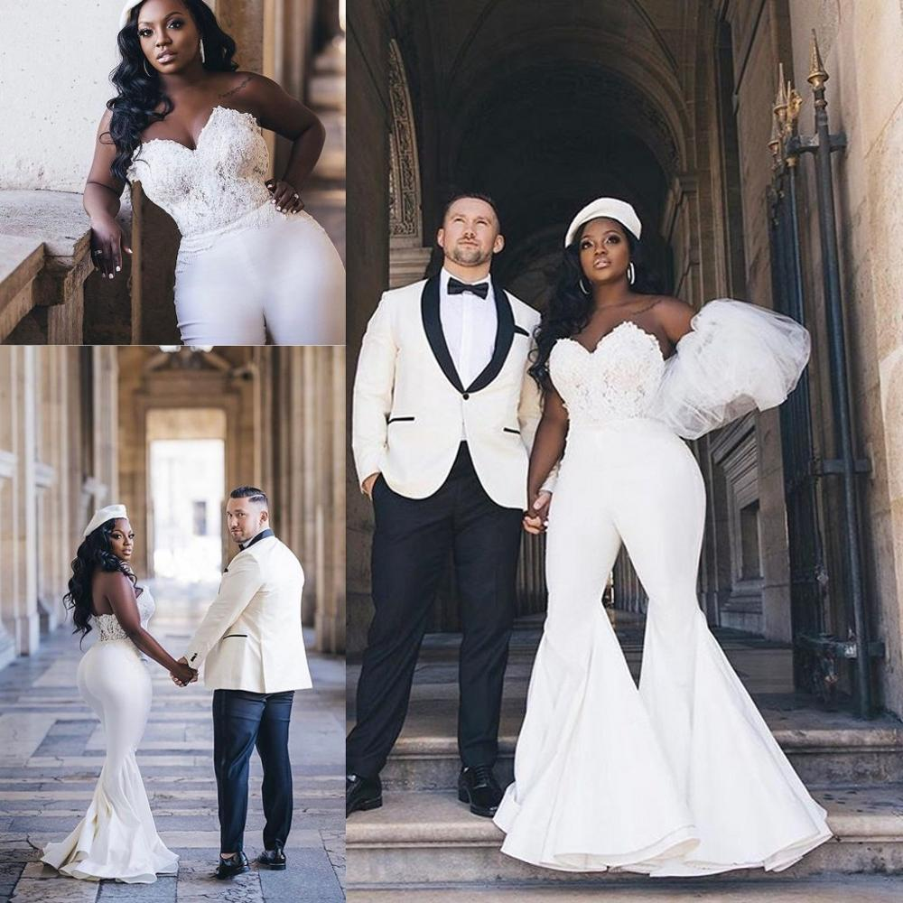 Plus Size African Wedding Jumpsuit Gown 8 Sexy Sweetheart Lace Corset  Top Outdoor Bride Reception Dress with Pant Suit