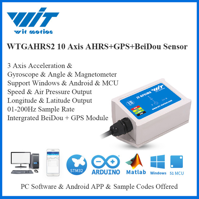 WitMotion WTGAHRS2 GPS Beidou Navigation Position Speed Tracker 10 Axis Accelerometer + Gyro + Angle + Magnetometer + Barometer