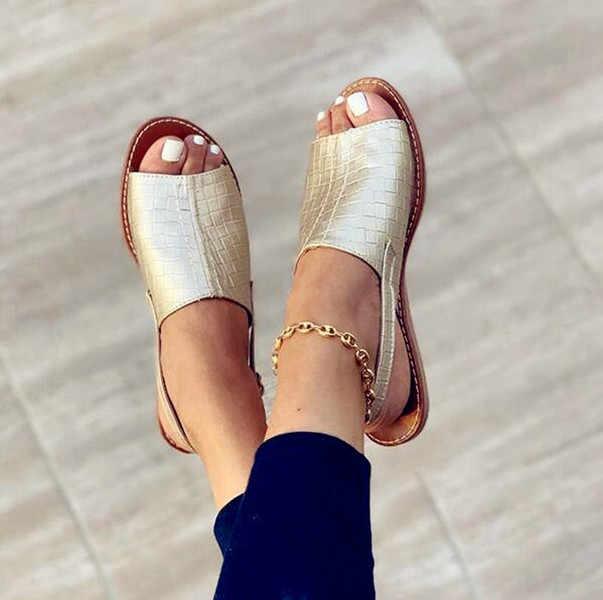 Laamei Wanita Sandal Musim Panas 2020 Wanita Sepatu Wanita Peep-Toe Wedges Nyaman Sandal Slip-On Sandal Wanita Sandalias