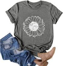 Новая модная женская футболка с короткими рукавами и цветочным