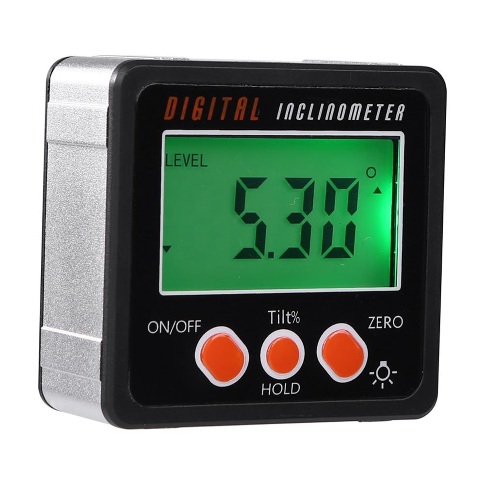 Electronic Protractor Digital Inclinometer 0 360 Aluminum Alloy Digital Bevel Box Angle Gauge Meter Magnets Base Measuring tool|Level Measuring Instruments| |  - title=