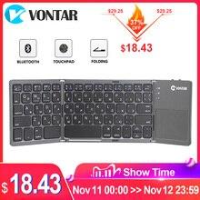 Vontar portátil dobrável russo teclado sem fio bluetooth recarregável bt touchpad teclado para ios/android/windows ipad tablet