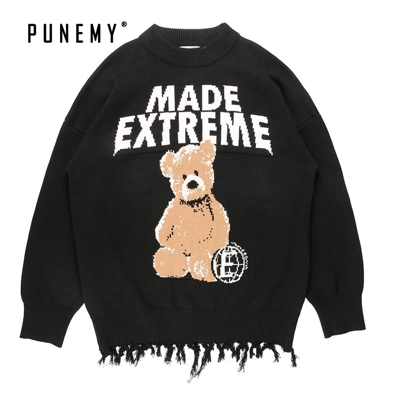 Hip Hop Streetwear Men Sweaters Teddy Bear Pattern Harajuku Retro Cotton Oversize O-neck Pullover Autumn Fashion Man's Sweaters