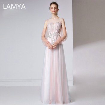 Elegant Embroidery Evening Dresses LAMYA A-Line O-Neck Simple Sleeve Tulle Formal Dress Long Lace Evening Gowns For Party