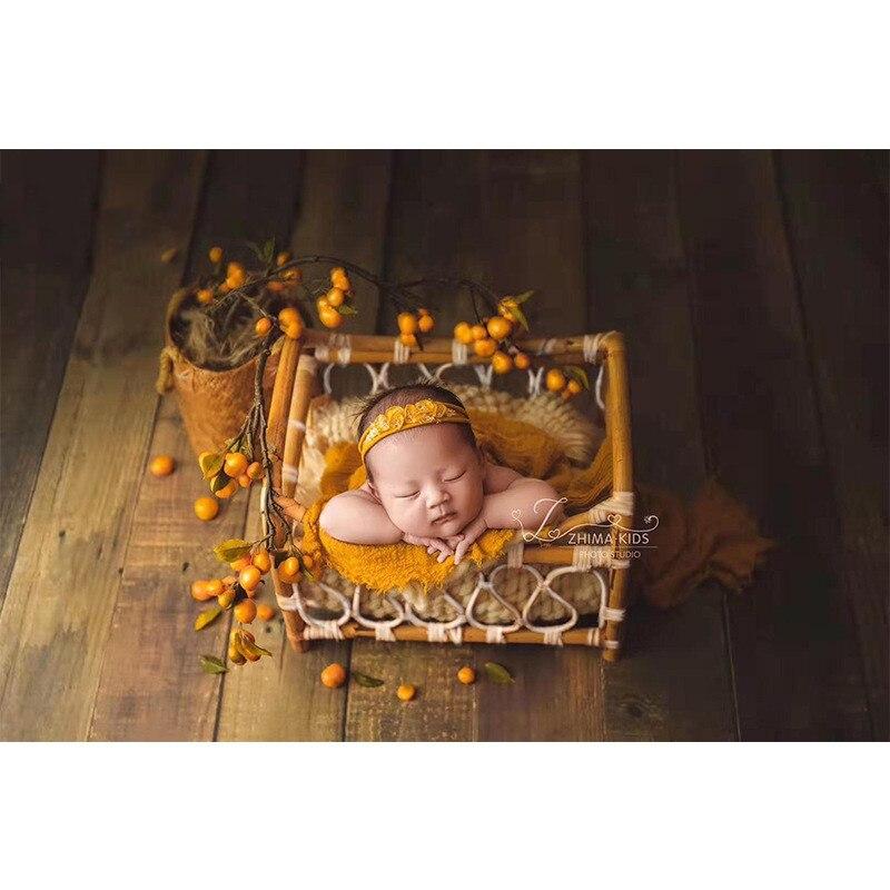 New Newborn Photography Props Retro Woven Rattan Basket Baby Photo Shoot Container Box Studio Baby Full Moon Photo