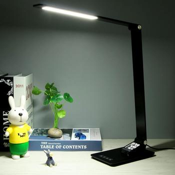 LED Eye Protection Wireless Charging Desk Lamp Aluminum Folding Touch 5-level Dimming LED Time Display Alarm Clock Desk Lamp