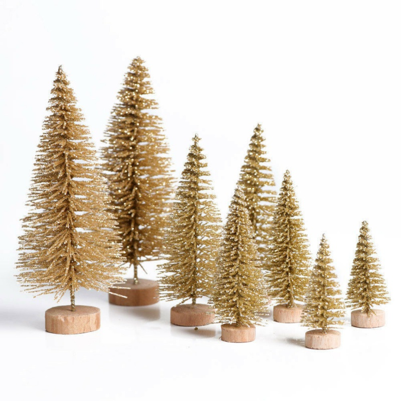 8PCS Mini Christmas Tree Set Simulation Christmas Tree Table Decoration Festive Party Supplies New Year Xmas Trees