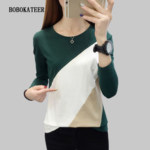 BOBOKATEER long sleeve t shirt women clothes 2019 cotton t-shirt o-neck tee femme casual tshirt