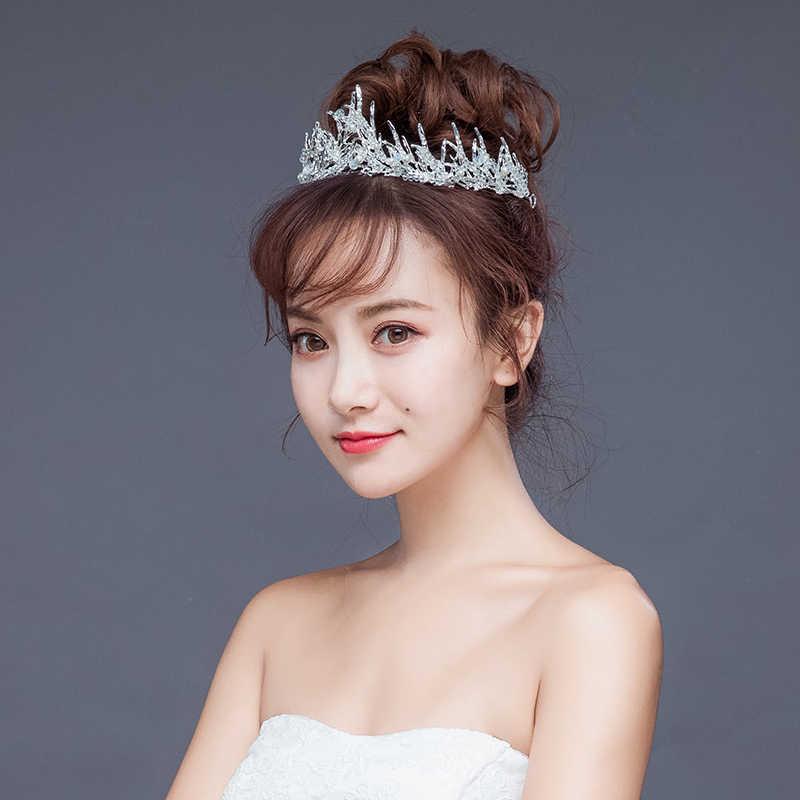 Luxe argent cristal perle mariage reine couronne cheveux bijoux strass diadèmes coiffure pour mariée à la main accessoires de mariage