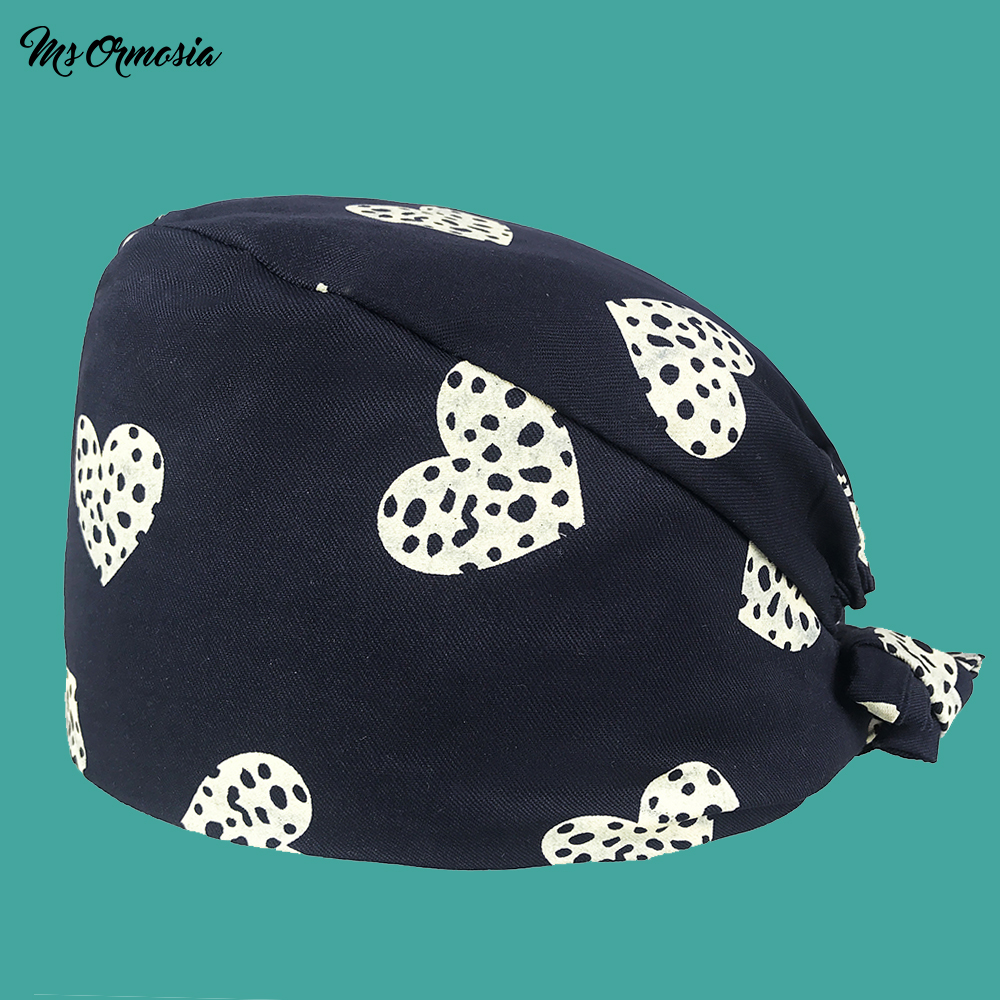 High Quality Printed Men And Women 100% Cotton Operating Room Surgical Cap Band Elastic Nurse Cap Hospital Doctor Cap Beauty Hat